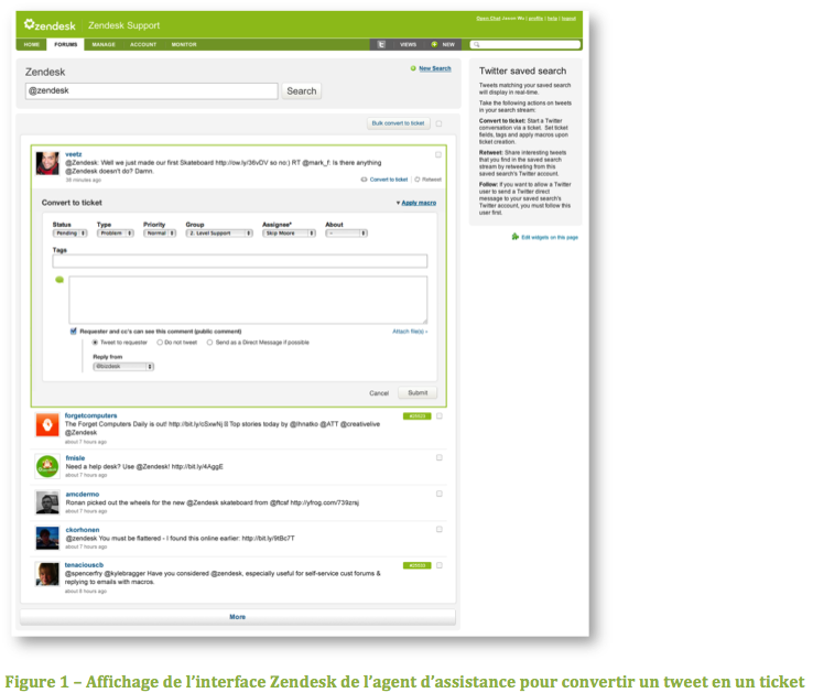 Affichage de l'interface Zendesk